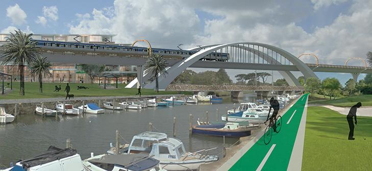 Design for a proposed rail bridge across Mordialloc Creek on the Frankston line.