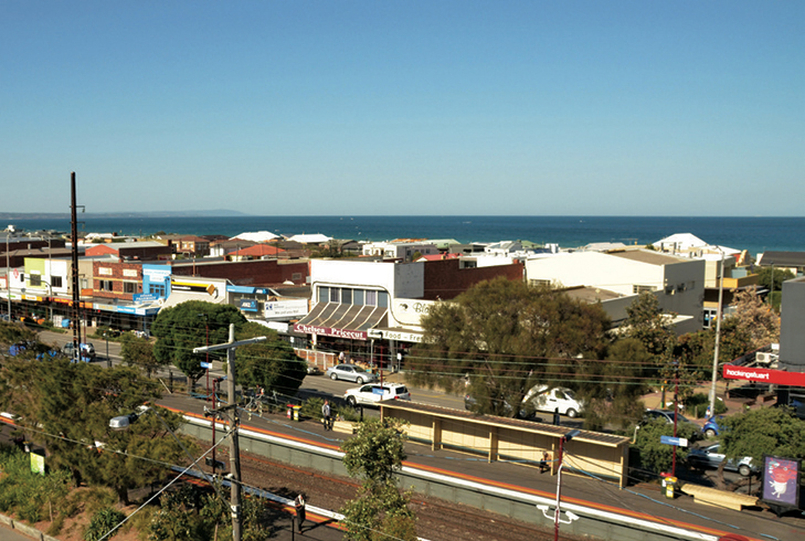 The view from 12 metres above Chelsea railway station on the Frankston line.